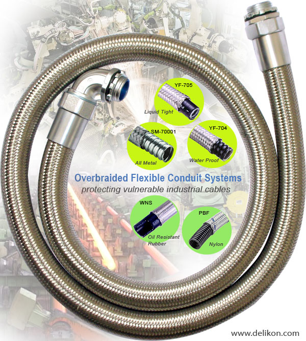 Overbraided Flexible Conduit Systems,protecting vulnerable industrial cables