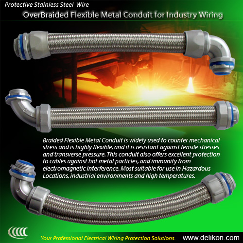 Protective Stainless Steel OverBraided Flexible Metal Conduit for Industry Wiring
