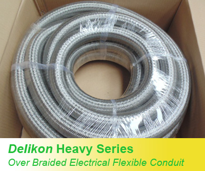 Over Braided flexible steel conduits are most suitable for use in Hazardous Locations, industrial environments and high temperatures wiring applications.