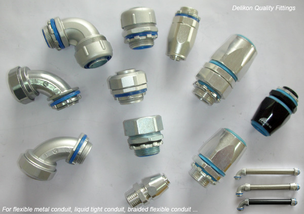 High quality metal fittings for flexible metal conduit, liquid tight conduit, braided conduit
