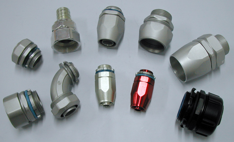 G, NPT, Metric Thread and PG Thread Liquid Tight Conduit Fittings, Flexible Conduit Connectors