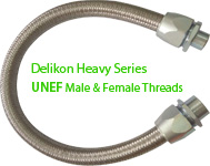Delikon Heavy Series Over Braided Flexible Conduit and Connector with UNEF Male or Female Threads