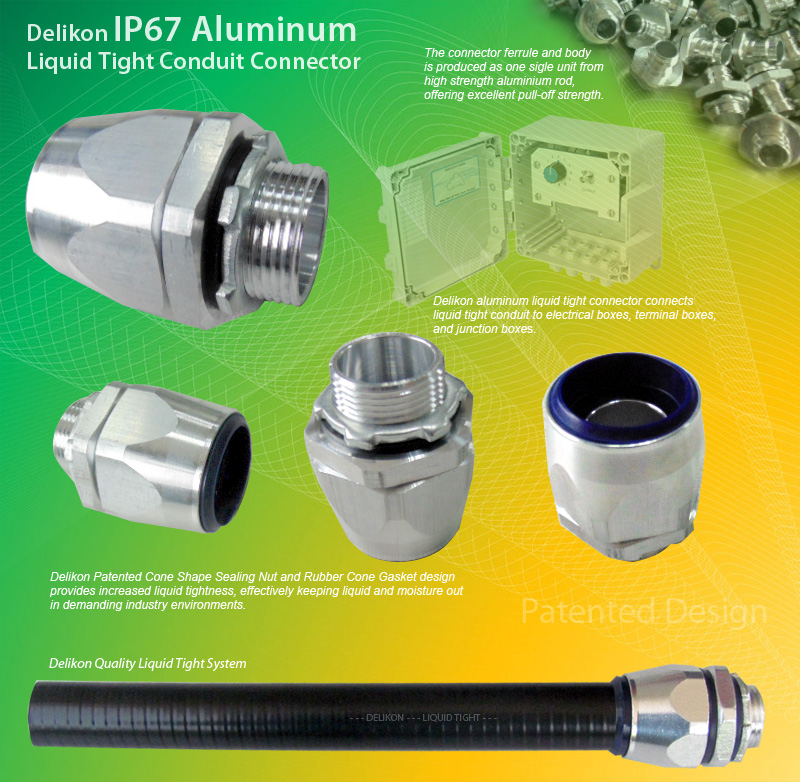 Delikon liquid tight aluminum fittings for use with Metal Liquid Tight Conduit or Non Metallic Liquid Tight Conduit (LFMC & LFNC). Male or Female Threads : G, PF, PG, METRIC, NPT, PT